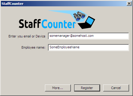 Geben Sie unmittelbar nach der Installation des Programms die Ihrem StaffCounter Account zugehörige Email-Adresse in das Hauptfenster ein. Geben Sie darunter den Namen des Mitarbeiters oder des Geräts ein.