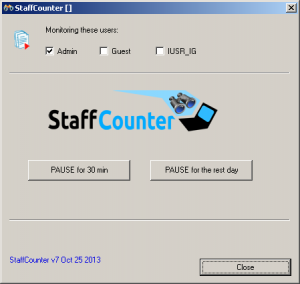 Окно программы Staffcounter для Windows. Программа мониторинга компьютера.