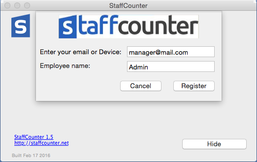 Write into the first field the email address of the manager. . StaffCounter.net.
