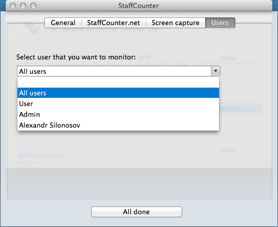 Configuring monitoring application for MAC OS X