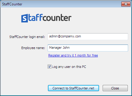Right after the program has been installed, enter the e-mail account for your StaffCounter account in the main window.