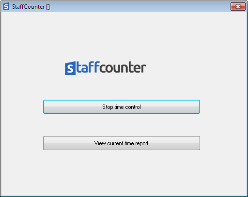 An employee can click on the StaffСounter Agent application icon in the system tray and stop monitoring. It is also possible to start monitoring again from this window.