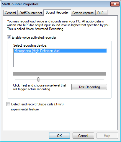 In the third tab you can adjust settings for recording sounds around the computer. Use the slider to adjust the microphone's sensitivity.