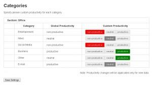 Per iniziare, aprire la paginaSettingse impostare il valore generale di produttività per ogni categoria.