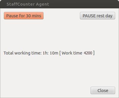 Si, l'utente può fare clic sull'iconaStaffCounter Agentpresente nella barra di sistema e mettere in pausa il monitoraggio per 30 minuti o per il resto della giornata lavorativa.