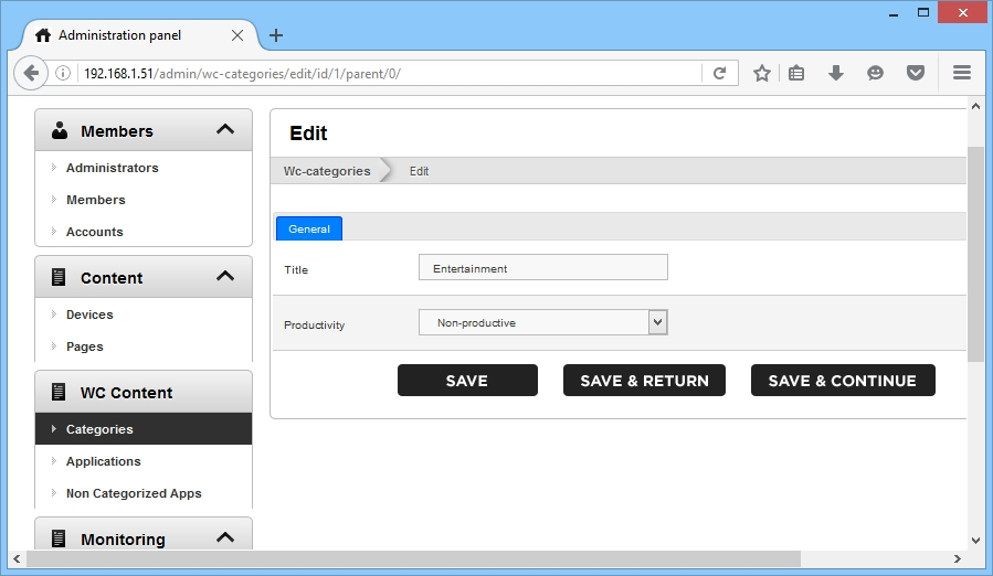 After going to the required category click Edit.Specify the name and degree of productivity for that category.