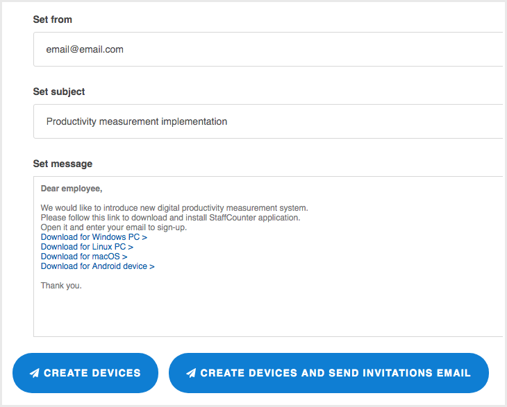 Create devices and send invitation letters.
