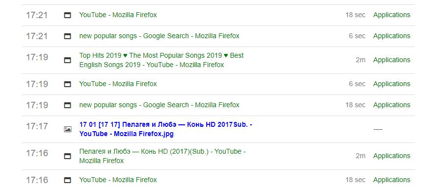 1. Отслеживает Интернет активность – записывает заголовки активных окон браузеров Firefox, Chrome, Chromium и других программ.