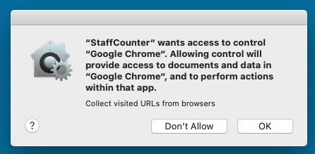 Allow to StaffCounter application the access to Google Chrome web history.