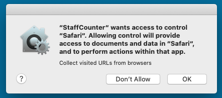 Allow to StaffCounter application the access to Safari web history.