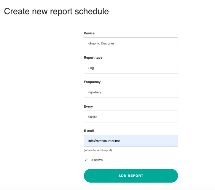 Create new report schedule.