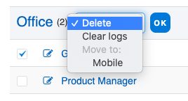 Clear log history, delete device, move employee's device to another department.