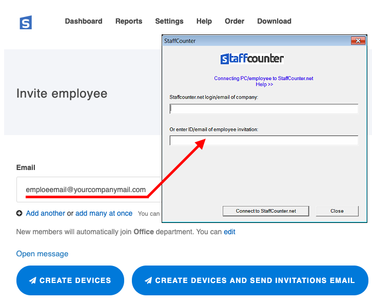 Installation by invitation, when adding an employee by e-mail.