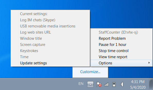 "If you need to get the settings ""right now"", you must click on the StaffCounter icon in the system tray, then select the ""Options"" section and click ""Update settings""."