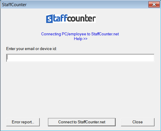 At the first launch of the program, you need to connect the agent to the data.staffcounter.net server.