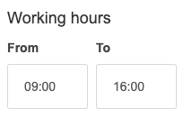 Working hours.