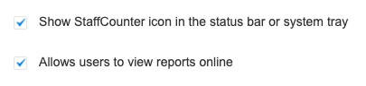 Show StaffCounter icon in the status bar or system tray. Allows users to view reports online.